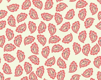 Verona Collection Fabric by Riley Blake Vintage Paisleys Coral Paisley Leaf on Cream