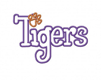 Tigers with a Paw Print Embroidery Machine Applique Design 4016