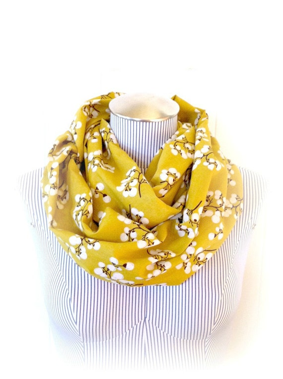 Burnt Umber Blossom Infinity Scarf, Ochre yellow Spring Fashion