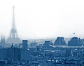 We'll Always Have Paris - Eiffel Tower, Rooftops, Impressionist Cityscape in Blue - Fine Art Photography in Various Sizes, Finishes