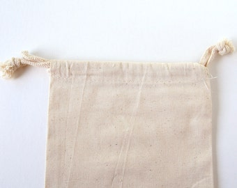 "6 Cotton Gift Bag - 5 x 6"" - Unbleached Muslin Bags"