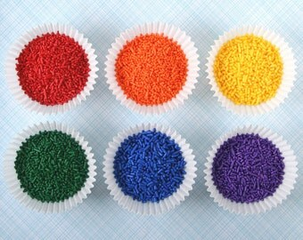Classic Rainbow Mix Jimmies - Rainbow Sprinkles - Red, Orange, Yellow, Green, Blue, Purple (12 oz)
