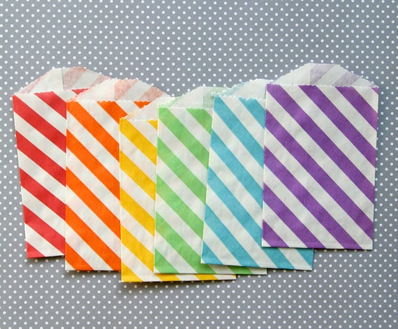 Classic Rainbow Striped Goody Bags - Little Party Favor Bags - 2.75 x ...