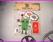 Sleepy Robot 13 Sticker Pack w/ Free Pin