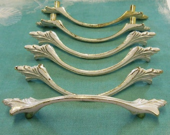 "FREE USA SHIPPING 6 Vintage French Provincial Drawer Pulls 3"" Centers"