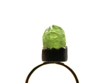 Raw Green Vesuvianite Silver Gold Ring Spring Mountain - Monte Vesuvio