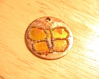 Butterfly Engraved and Painted Metal Charm Medallion