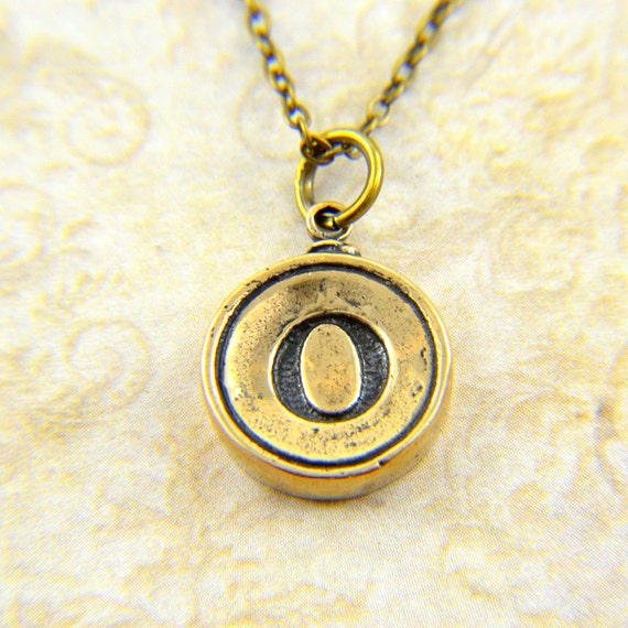 Letter O Necklace - Bronze Initial Typewriter Key Charm Necklace - Gwen Delicious Jewelry Design GDJ
