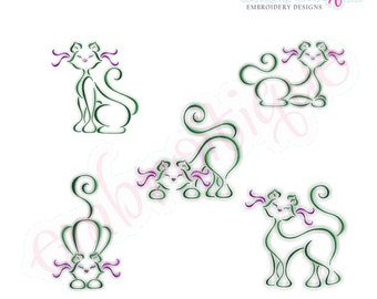 French Cats - Complete Set of 5 Cats- Instant Download -Digital Machine Embroidery Design
