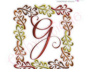 Fall Leaves Font Frame- Instant Email Delivery Download Machine embroidery design