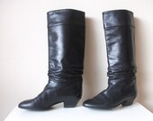 80s Black Leather Campus Boots, Size 6
