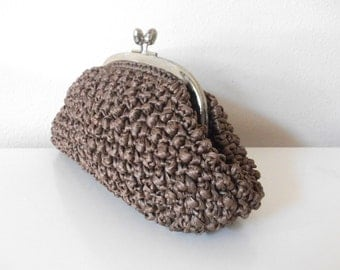 Mocha Brown 60's Knotted Satin Ribbon Evening Clutch