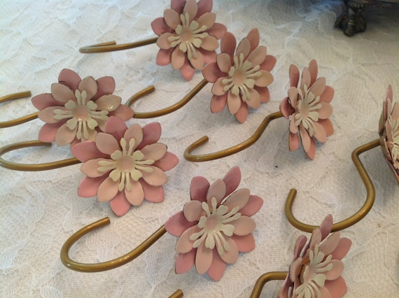 Vintage shower curtain hooks pink flowers by for Shabby chic rhinestone shower hooks