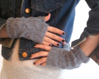 Deep Grey Mittens, Handmade Mittens,  Knitting Mittens