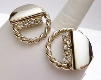 Rhinestone Rope Textured Circle Clip On Earrings