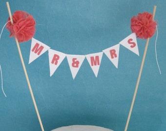 "Coral Wedding Cake banner, Coral wedding cake ""Mr & Mrs"" Banner F104 - wedding cake bunting banner topper"