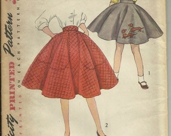 Vintage 1950s Simplicity Simple To Make Girls' Full Circle Skirt Pattern 3987