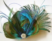 TEAL Asymetrical Peacock Feather and Sword Hair Clip with Rhinestone Wedding Fascinator Clip Bridal Party