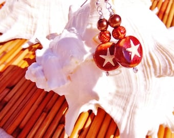 Real Starfish and Stone Earrings on Red- Beach Candies by jessentials