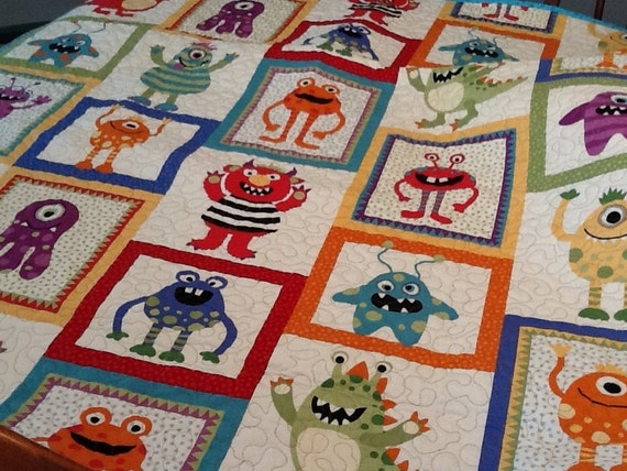 Monster quilt boys blanket scary monsters don 39 t be by shancee for Baby monster fabric