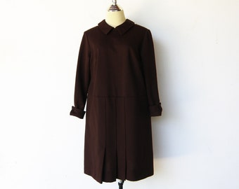 Vintage Pleated Dress / 60s Brown Dress / Size XL