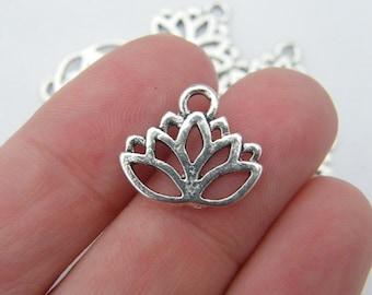 BULK 50 Lotus flower charms antique silver tone F12