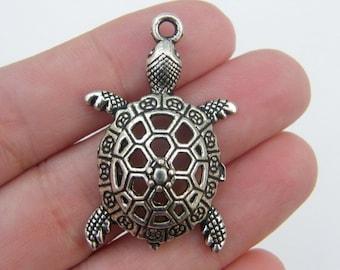 2 Turtle pendants tibetan silver FF129