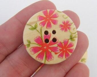 30 Flower buttons 4 holes 30mm wood
