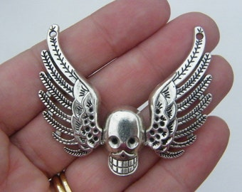 2 Skull and angel wing connector charms antique silver tone HC173