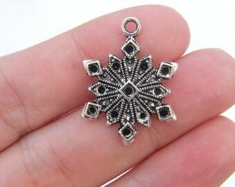 6 Snowflake charms antique silver tone SF21