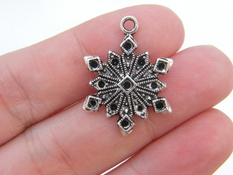 bulk 30 snowflake charms antique silver tone sf21