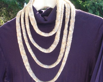 Knit Necklace - Extra Long Necklace - Fiber Necklace  - Textile Jewelry