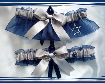 Navy and Silver Organza Ribbon Wedding Garter Set made with Dallas Cowboys Fabric