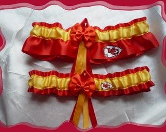 Red Satin Ribbon Wedding Garter Set Made with KC Chiefs Fabric
