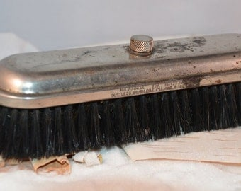 Antique Early 1900's Silver Plate Horse Hair Clothing Brush