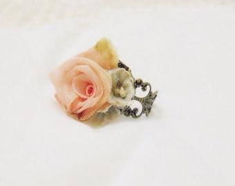 "filigree bronze ring with peach ribbon ring ""ring around rosy"""