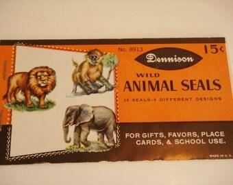 Dennison Wild Animal Gummed Stickers  36 Seals 6 Designs - Original  Package vintage Unused stock of Gummed Seals