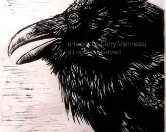 """Raven artwork , Raven, crow,  Relief print.  18"""" x 18"""" on Thai Kaso Paper. 2014"""