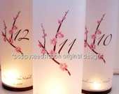 12 Table Numbers Pink Cherry Blossom Lumnaries