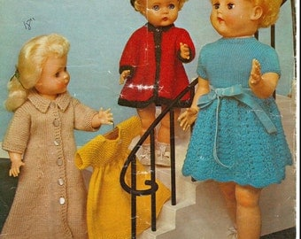 Doll knitting pattern -  Doll Clothes knitting pattern - Fits 16 to 18 and 20 to 22 inches or Baby