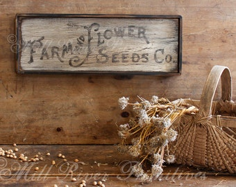 Primitive Aged Farm & Flowers Seeds Co. Wood Sign
