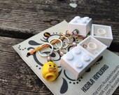 Lego Heads and Bricks Stitch Markers-Set of 5