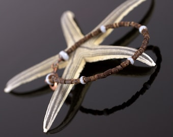 Coconut Shell Beaded Bracelet, copper clasp, layering bracelet