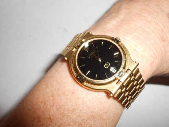 mens or womens unisex 10k gold plated authentic vintage mens or womens unisex 10k gold plated authentic vintage gucci swiss made quartz watch