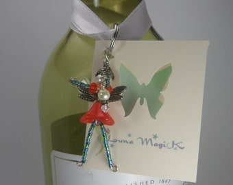 NATALIA Orange and Green Fairy Charm - Lucky Charm - Cell Phone Charm - Zipper Pull - Rear View Mirror Charm - Faery Decoration - Ornament