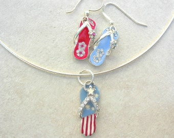 Patriotic Red*White*Blue Enameled Sterling Flip Flops, Soft Sterling Choker, July 4th, Memorial Day, Flag Day, Patriot Day, by SandraDesigns