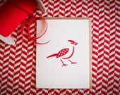 Red Bird Letterpress Valentine card