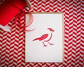 Red Bird Letterpress Valentine card
