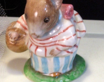 Vintage Beswick Pottery Beatrice Potter's Mrs Tittlemouse Figurine, 1970s Made in England Porcelain Mouse, Potters Storybooks, Walt Disney