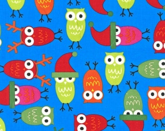 Jingle 2 by Ann Kelle and Robert Kaufman, Holiday Owls in Bright  1/2 yd total